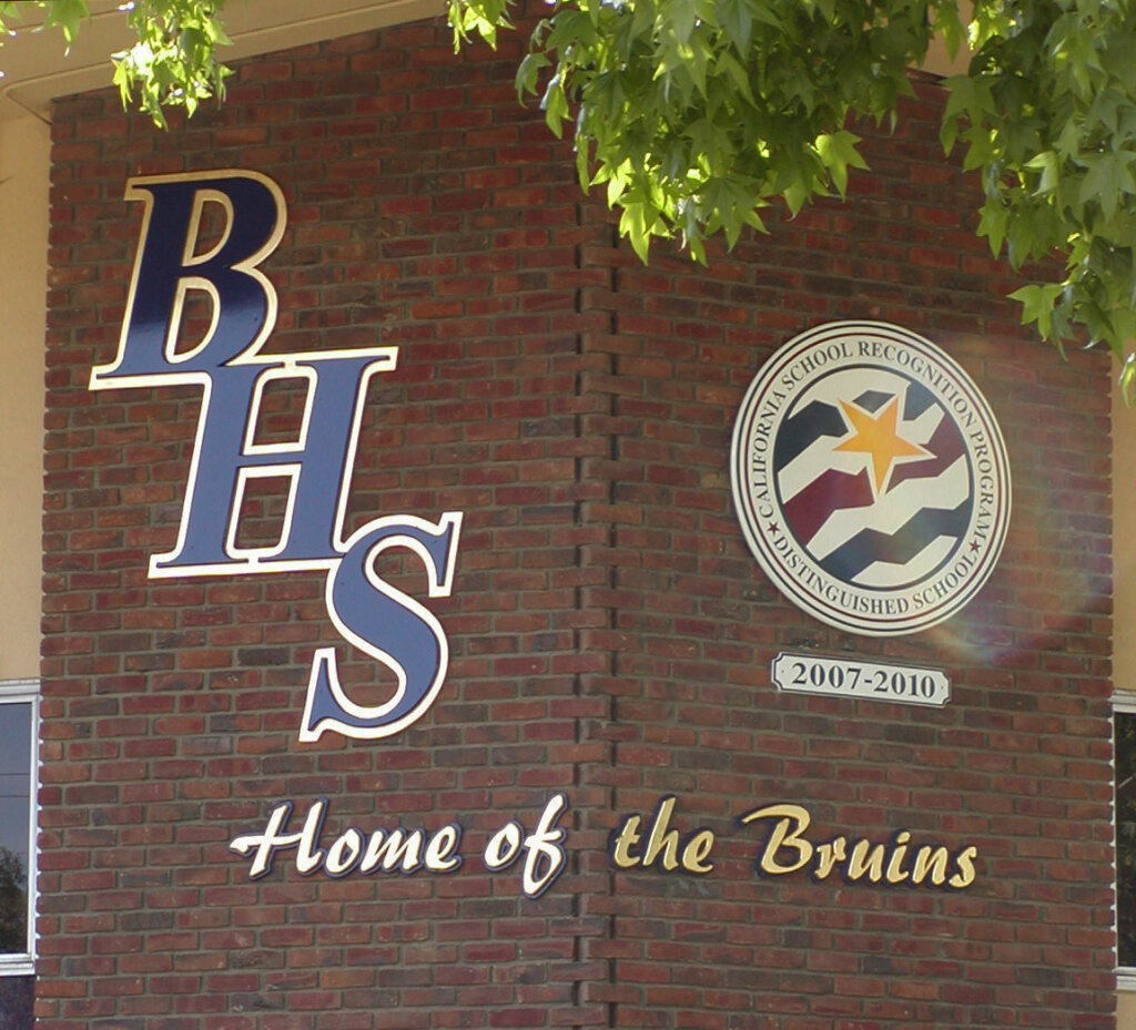 custom school signs San Jose branham gilded letters california