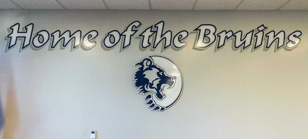 custom school signs San Jose branham office interior mascot painting