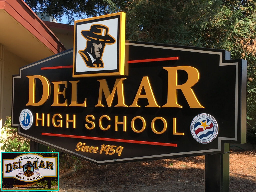 custom school signs San Jose del mar black entrance california