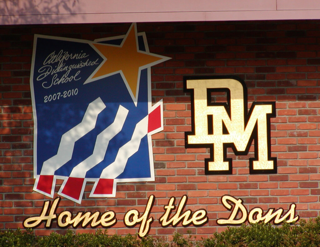 custom school signs San Jose del mar gilded letters california distinguished