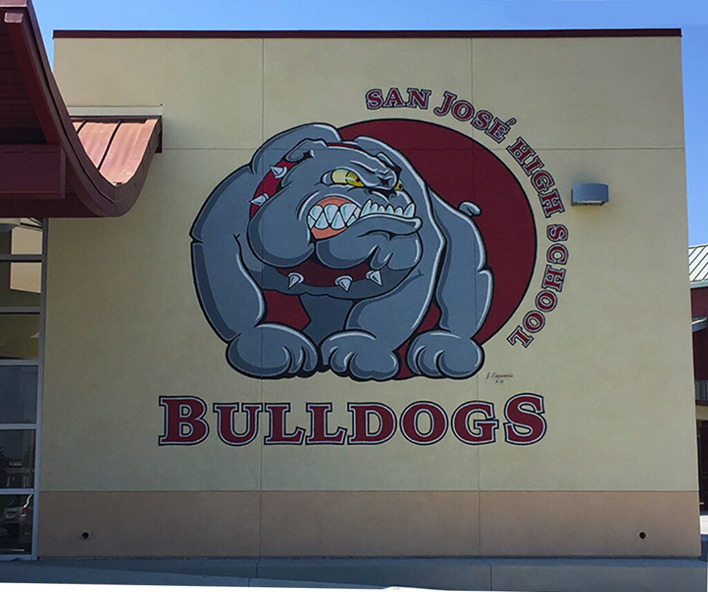 custom school signs San Jose high gym mascot mural painting bulldog