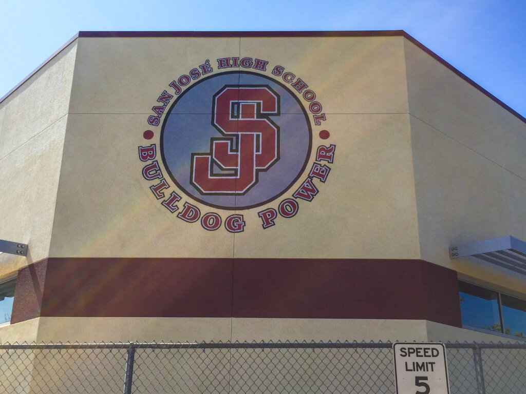 custom school signs San Jose high gym painting logo
