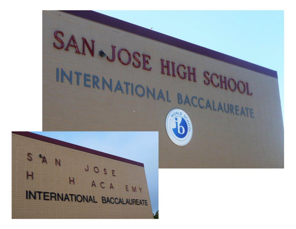 custom school signs San Jose high wall international baccalaureate close up