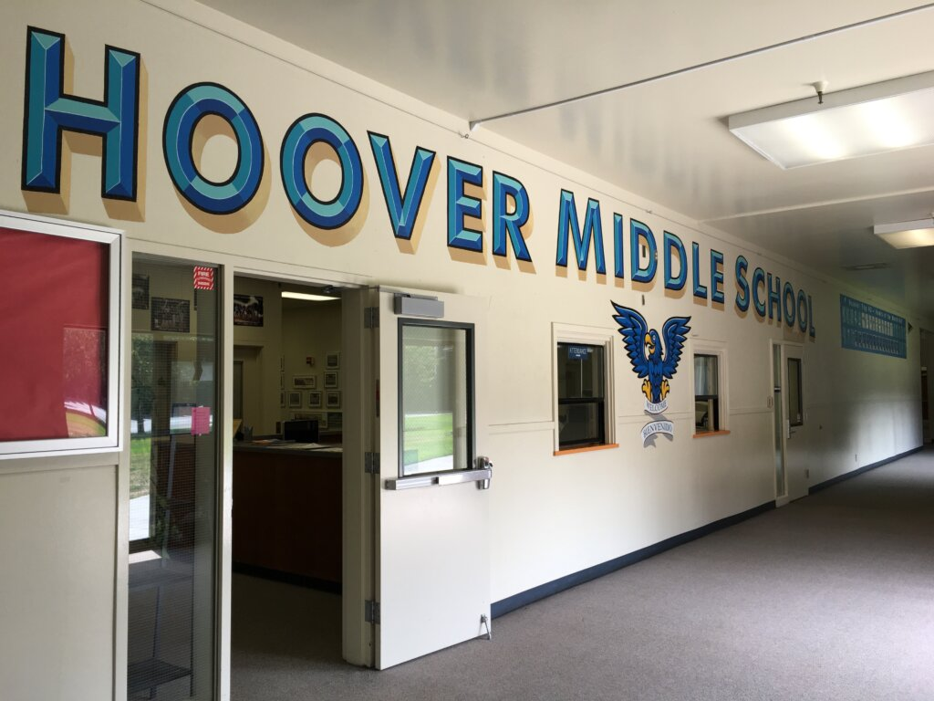 custom school signs San Jose hoover entrance hall mascot painting long