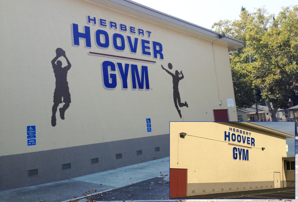 custom school signs San Jose hoover gym exterior before and after