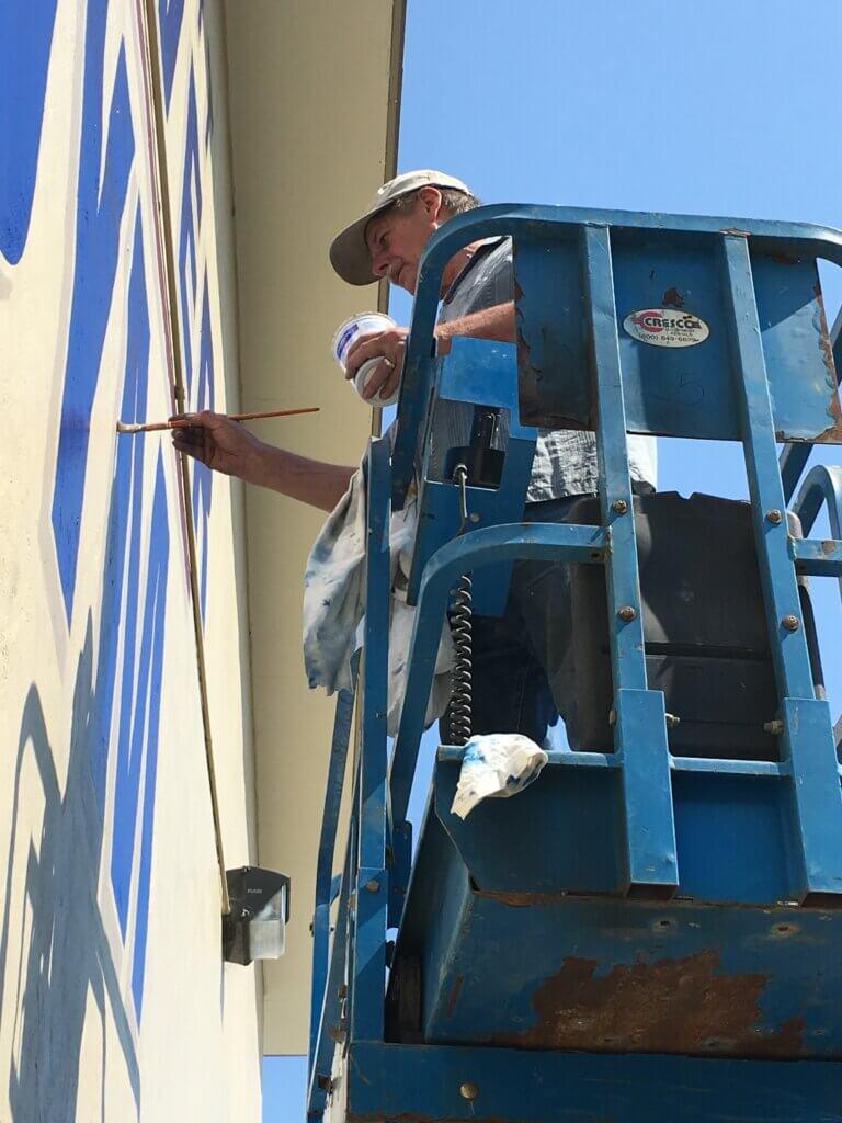 custom school signs San Jose hoover gym exterior john painting