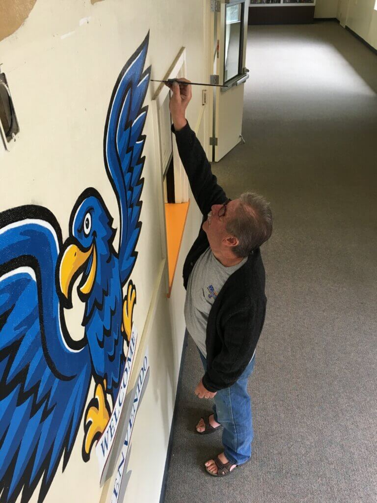john painting custom school signs San Jose hoover middle entrance hall mascot from above