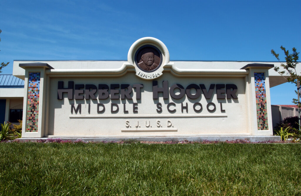 custom school signs San Jose hoover monument entrance