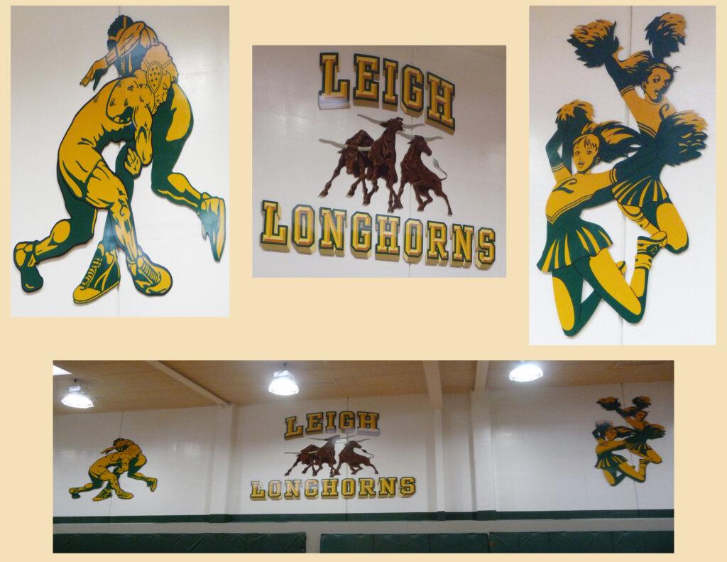 custom school signs San Jose leigh longhorns gym mascot painting