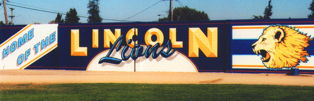 custom school signs San Jose lincoln football wall mascot mural painting