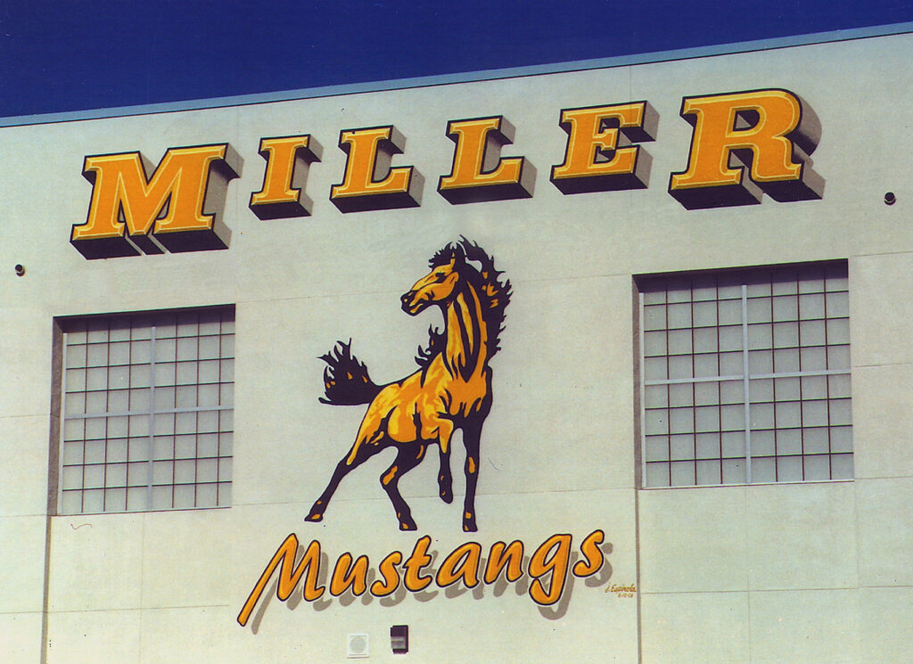 custom school signs San Jose miller mustangs mascot wall painting