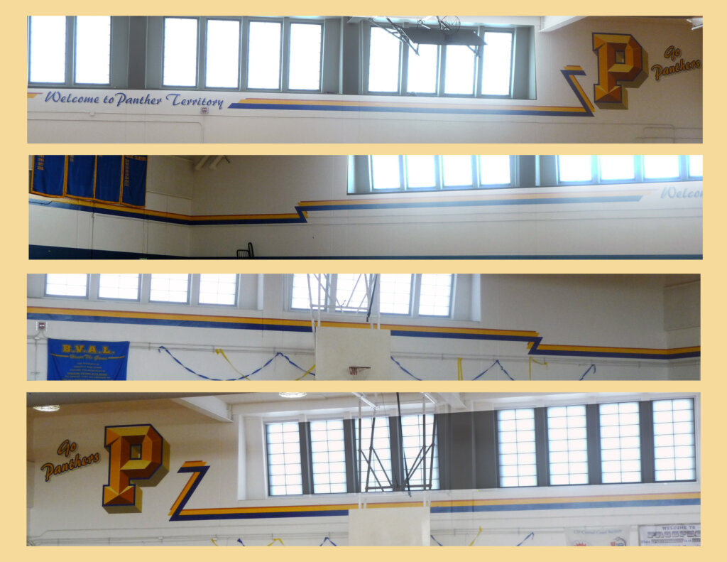 custom school signs Saratoga gym interior wall painting