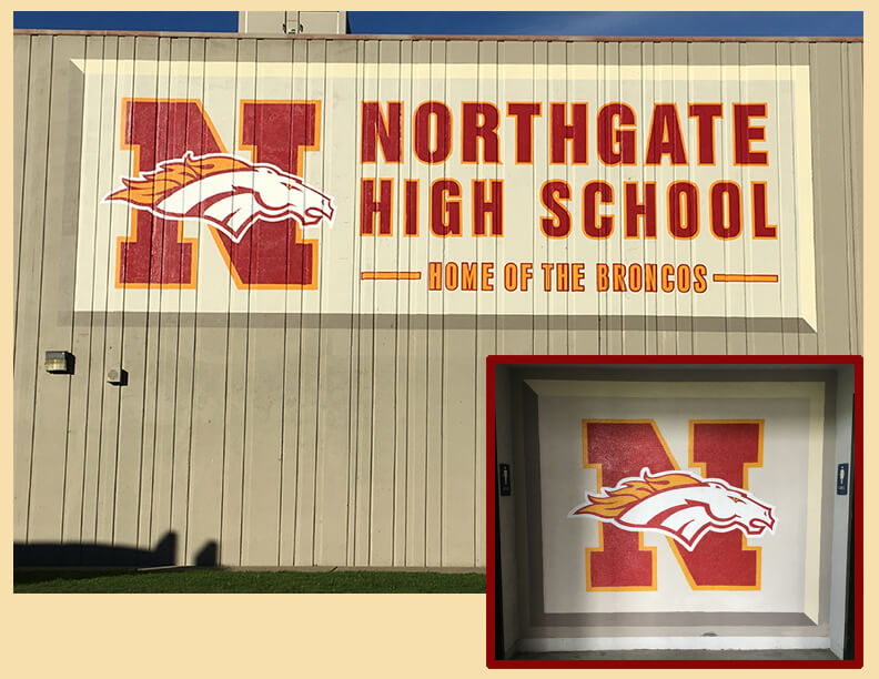 custom school signs Walnut Creek northgate high mascot painting final