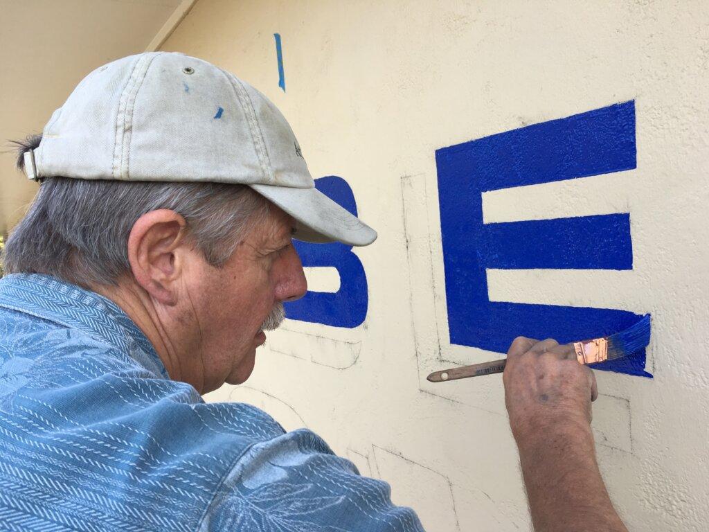 custom sign San Jose hoover gym john painting letters close up california