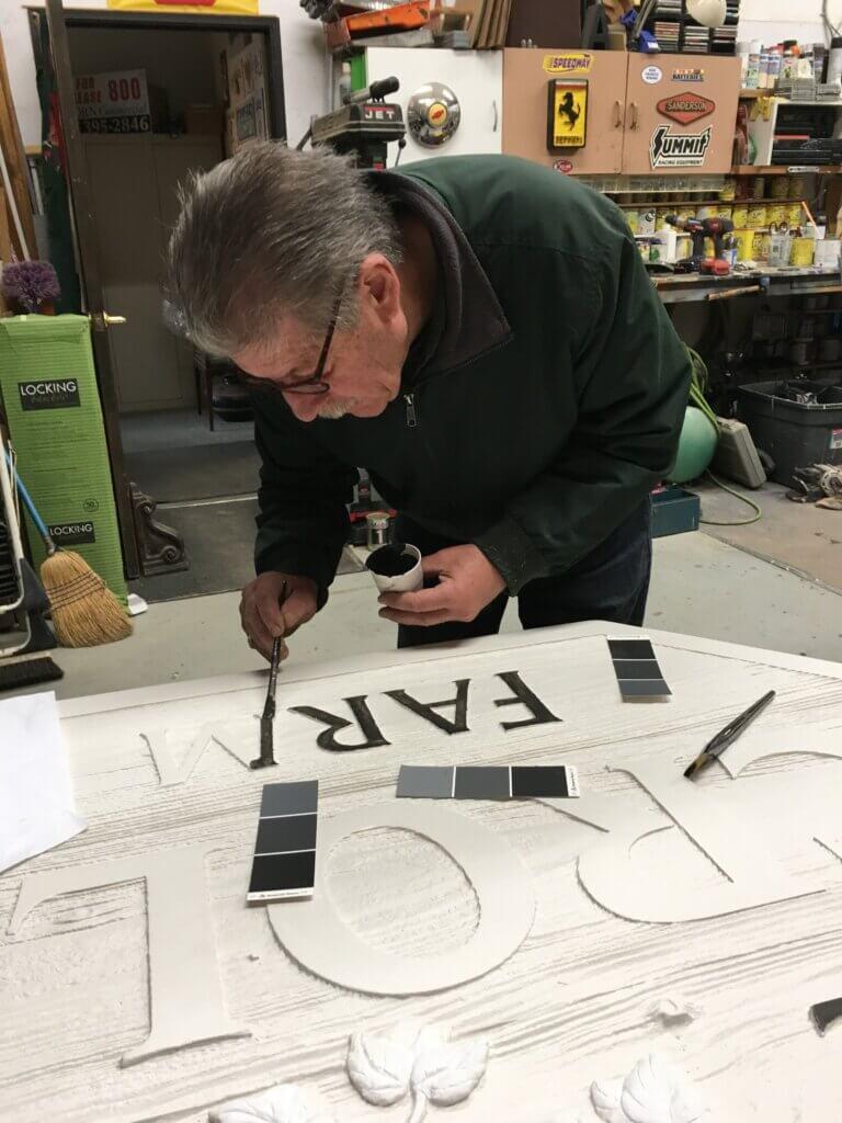 custom sign los altos croll farm john painting letters california