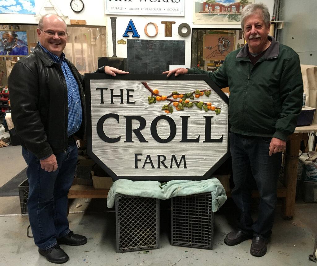 custom sign los altos croll farm john presenting finished piece california
