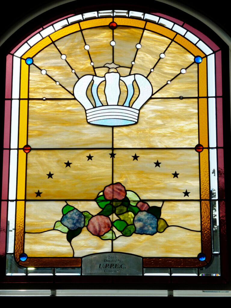 stained glass Chowchilla church flor acoriana chapel side window california