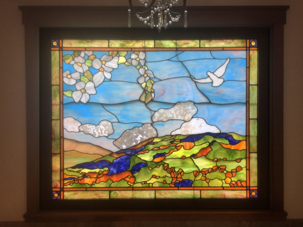 stained glass Gilroy bathroom window poppies lupine california