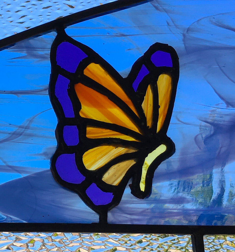 stained glass Gilroy door butterfly left california