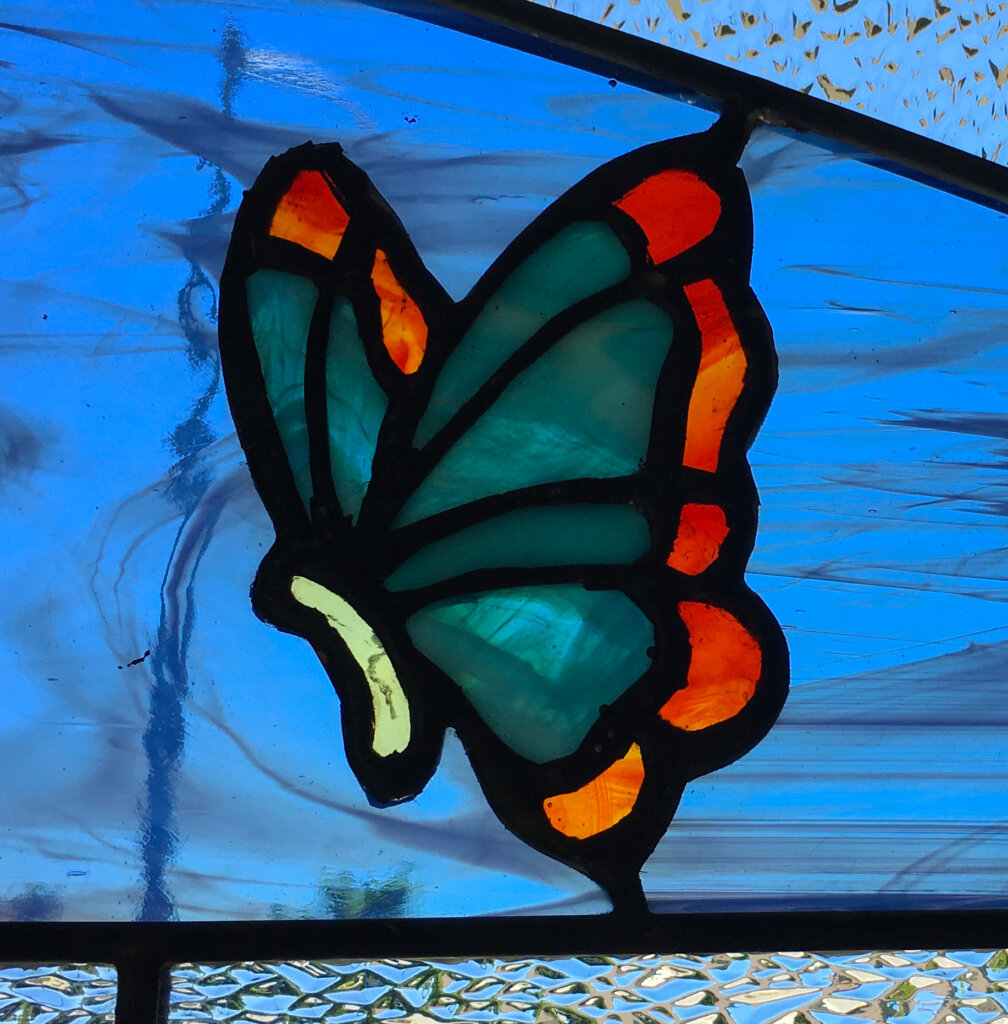 stained glass Gilroy door butterfly right california