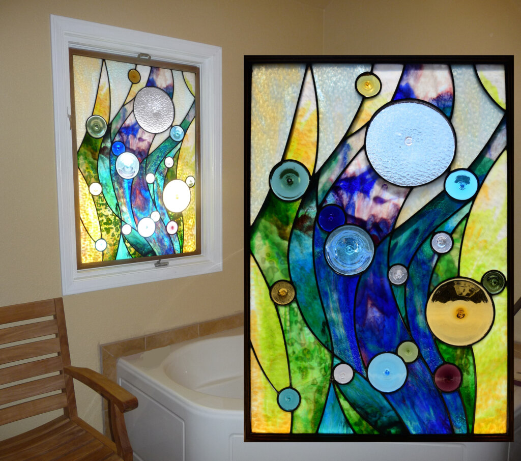 stained glass Los Gatos bathroom window pacific currents california