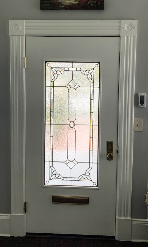 stained glass Los Gatos entry nave victorian front door window final california