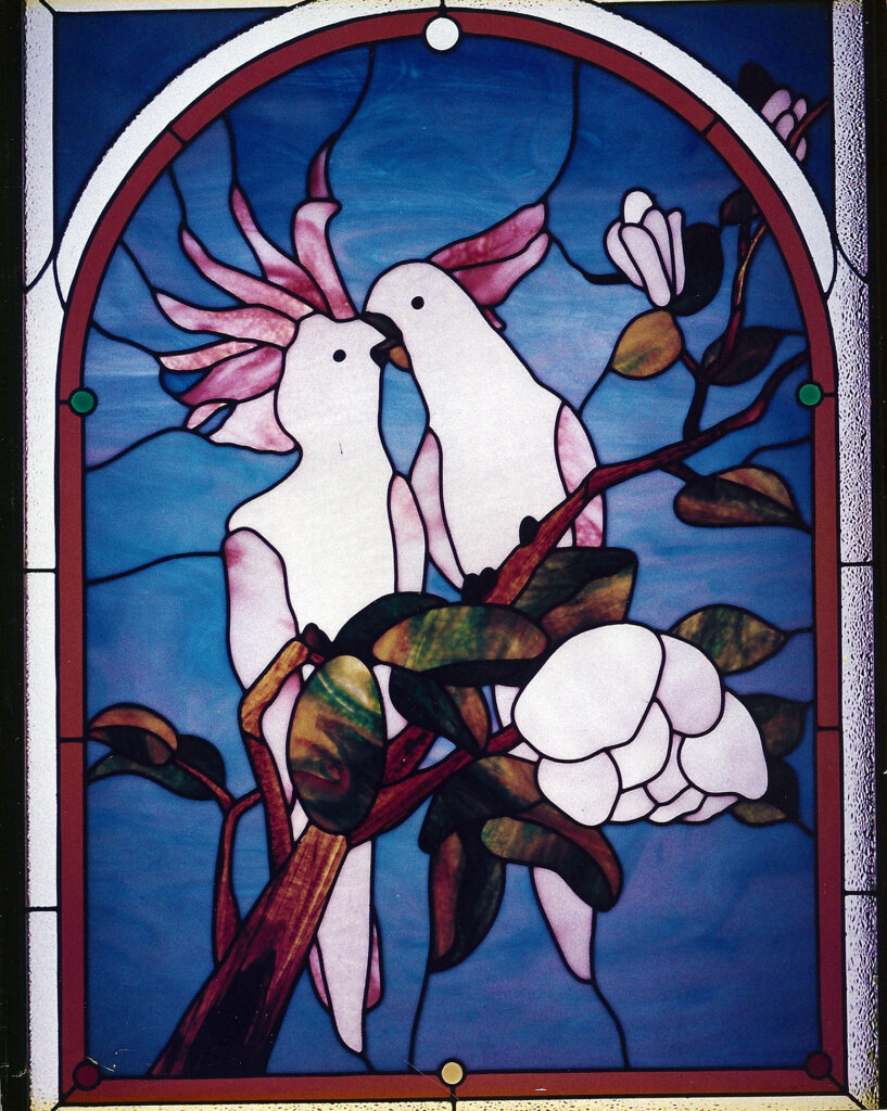 stained glass Los Gatos panel cockatiels california