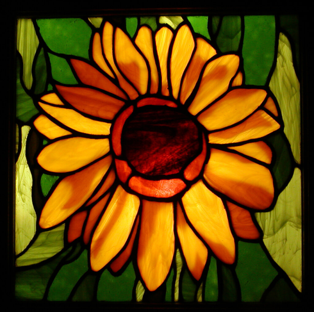 stained glass San Jose sunflower window california