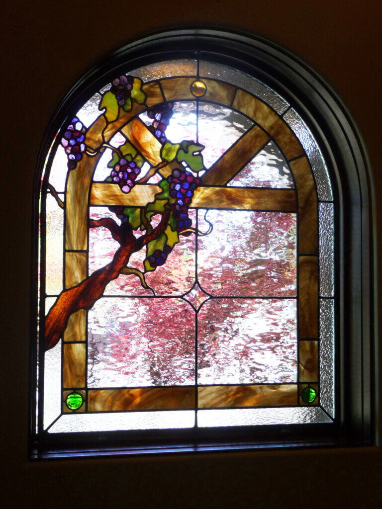 stained glass San Jose wine room window california