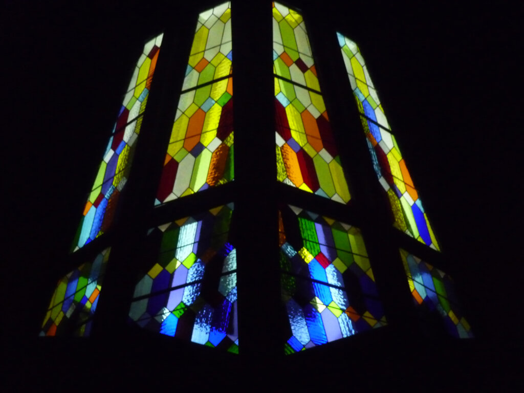 stained glass Woodside united methodist church steeple detail california