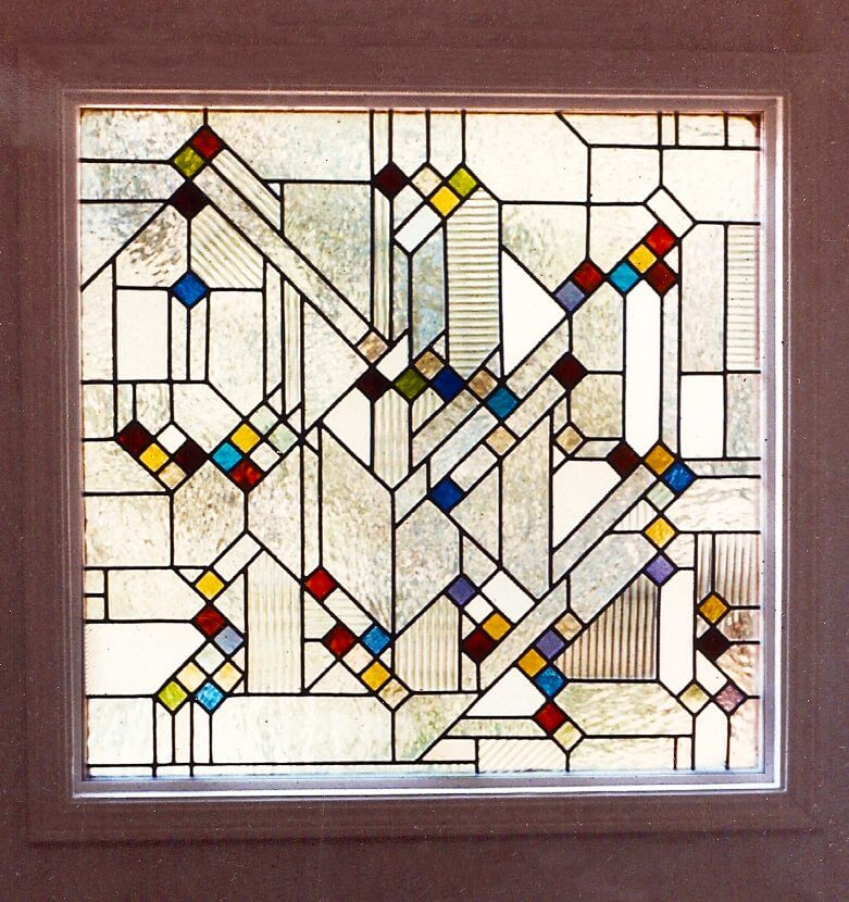 stained glass bathroom windows geometric california