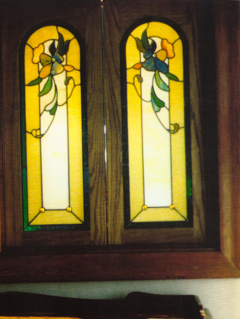 stained glass cabinet door kitchen passthrough california