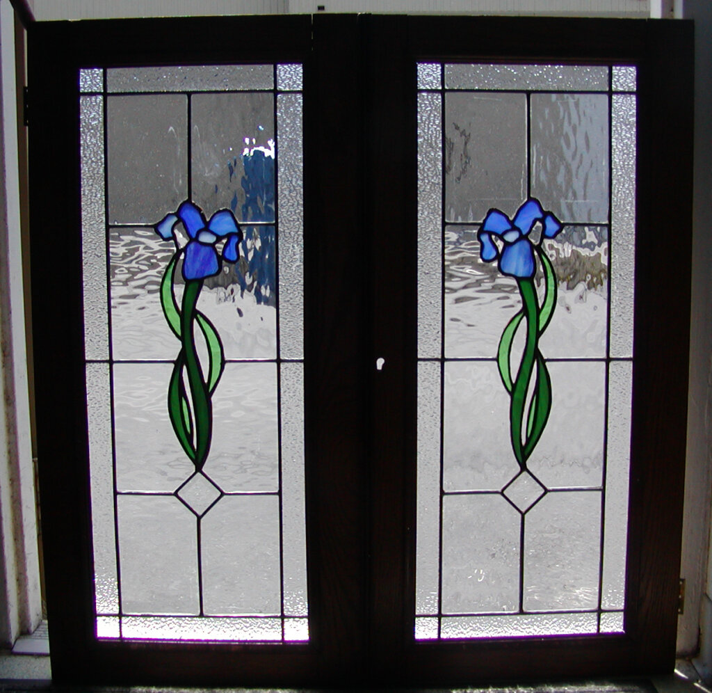 stained glass door iris cabinet california