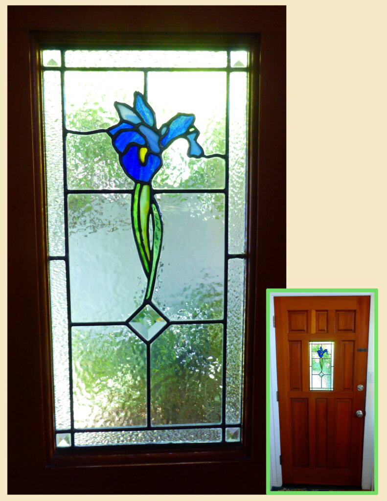stained glass san jose repair blue iris window door entry